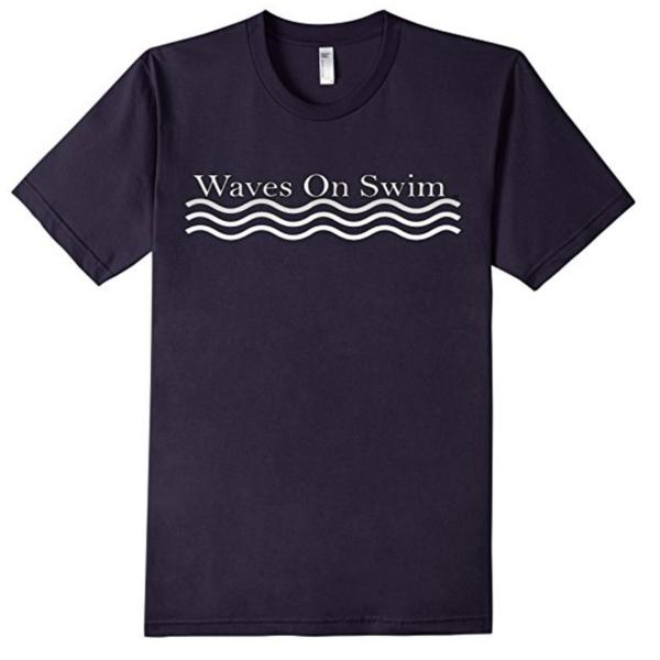 Waves on Swim Shirt Navy blue