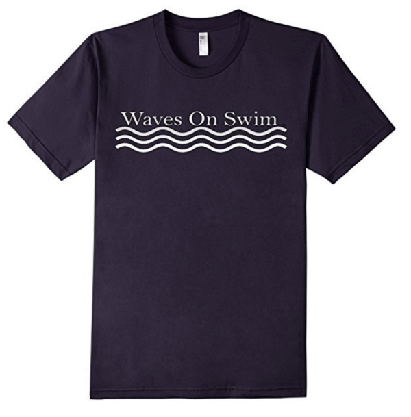 Waves on Swim Shirt Navy blue