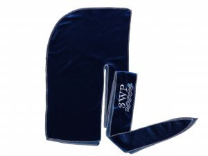 Royal Blue Velvet Durag white stitching