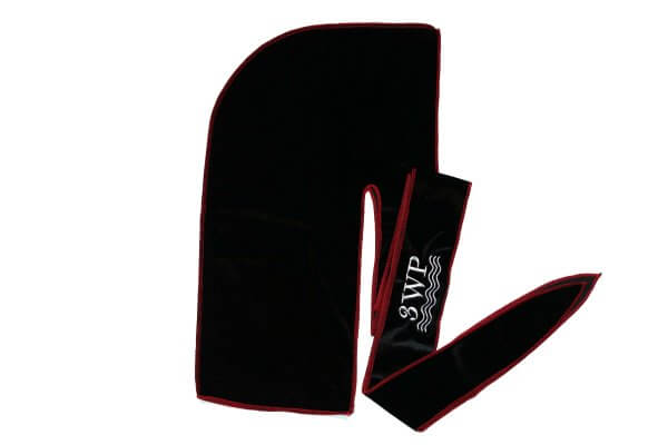 Black Velvet Durag Red Stitching