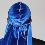 Royal Blue 3WP Velvet Durag white stitching