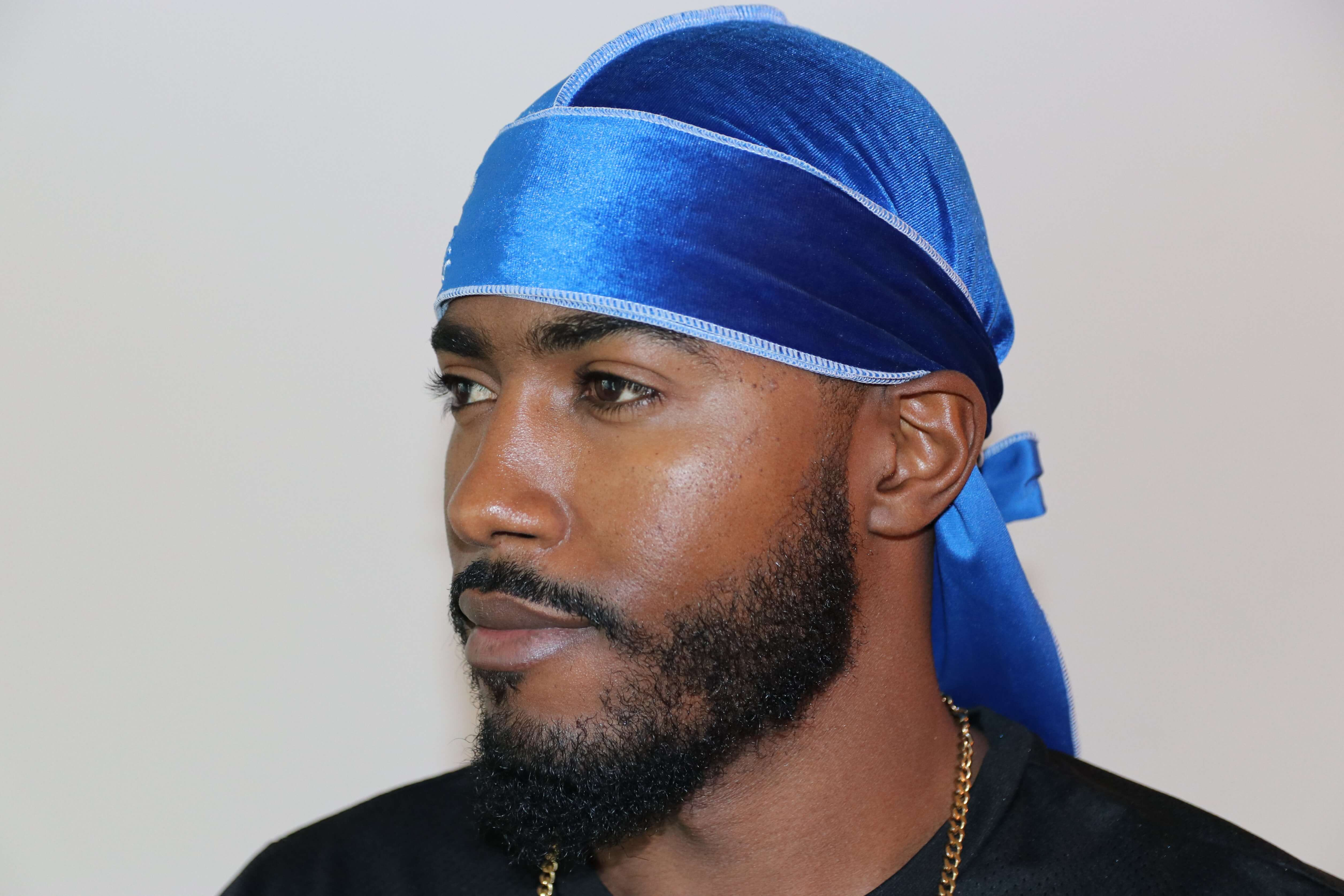 Royal Blue 3WP Velvet Durag white stitching
