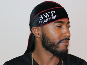 3WP Black Velvet Durag red stitching