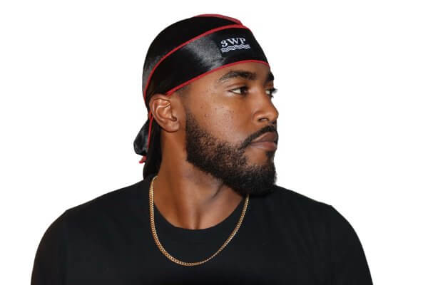 3WP Silky Durag Black with Red Stitching